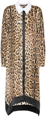 Roberto Cavalli Leopard-print silk shirt dress