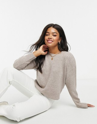 New Look fine knit crew neck sweater in pink marl