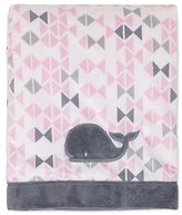 Nautica Mix & Match Velboa Whale Blanket in Pink/Grey