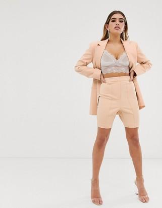 ASOS DESIGN skinny fit suit shorts in camel