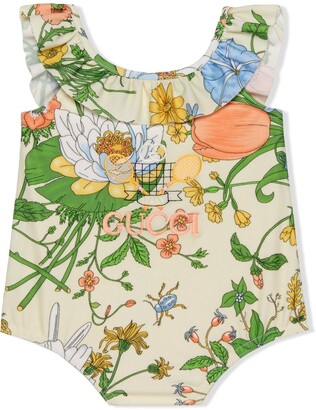 Gucci Kids Gucci Tennis floral print swimsuit