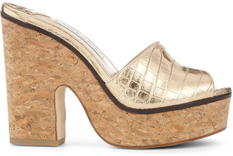 Jimmy Choo DEEDEE 125 Light Gold Metallic Croc-Embossed Leather Wedge Sandals