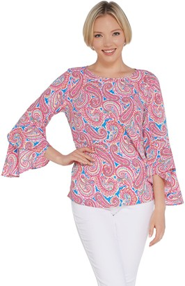 Belle By Kim Gravel Printed Stretch Flutter Sleeve Top