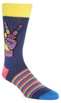 Bugatchi Men's Peace Sign Crew Socks