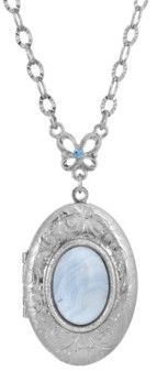 2028 Silver-Tone Semi Precious Oval Stone Locket Necklace