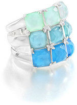 Ippolita Rock Candy Three-Row Wide Colorblock Ring in Blue Star, Size 7