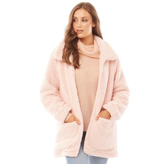 Brave Soul Womens Heavenly Teddy Jacket Pale Pink