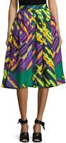 Tracy Reese Women's Linen Pleated Print Midi Skirt