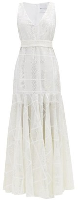 Halpern Belted Sequin-embellished Gown - White