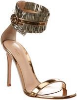 Gianvito Rossi 100 Ruffle Ankle Strap Leather Sandal