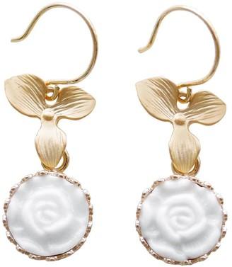 Poporcelain Mini Porcelain Moonlight Rose Drop Earrings