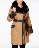 Via Spiga Plus Size Faux-Fur-Collar Asymmetrial Belted Coat