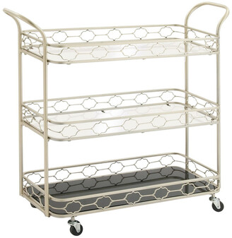 Uma Enterprises Metal Mirrored 3-Tier Bar Cart