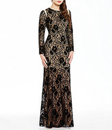 Tadashi Shoji Flocked Velvet Long Sleeve Shoulder Slit Gown
