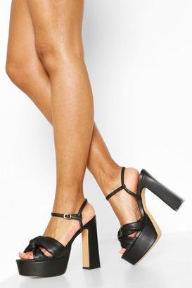 boohoo Knot Front High Platform Heels