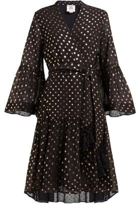 Figue Caroline Foil-print Crepe Wrap Dress - Black Gold
