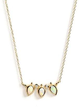 Anzie Bezel Bouquet Mini Fan Necklace