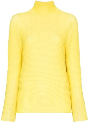 Issey Miyake Long Sleeve Roll Neck Top