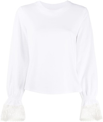 See by Chloe Lace-Detailed Poet Sleeve Top