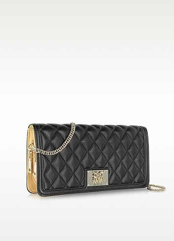 Moschino Black Quilted Eco Leather Wallet Clutch