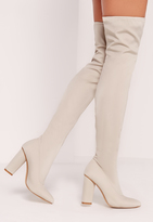 Missguided Pointed Toe Neoprene Over The Knee Boot Cream