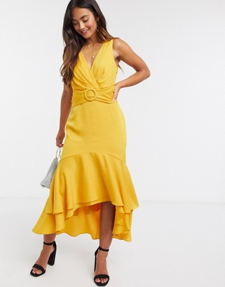 Ever New tie back belted high low midi dress in mustard yellow