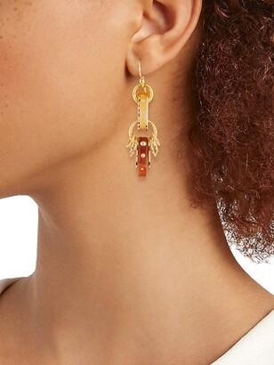 Gas Bijoux Prato 24K Goldplated & Acetate Charm Drop Earrings