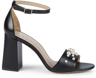 Zac Posen Elle Faux Pearl Leather Ankle Strap Sandals