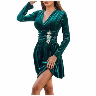 Greatestpak Dresses GreatestPAK Womens Wrap Front V Neck Suede Pleated Solid Mini Cocktail Party Prom Dress Green