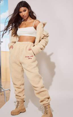 PrettyLittleThing Cream Borg Embroidered Joggers