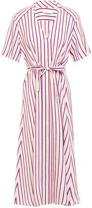 Sandro Clarence Striped Twill Midi Shirt Dress