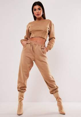 Missguided Camel Corset Detail Cropped Sweatshirt