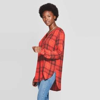Universal Thread Women's Plaid Long Sleeve V-Neck Rayon Twill Tunic - Universal ThreadTM Red