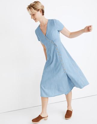 Madewell Indigo Button-Wrap Midi Dress