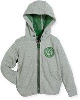 Armani Junior Hooded Melange Zip-Front Jacket, Gray, Size 4-12