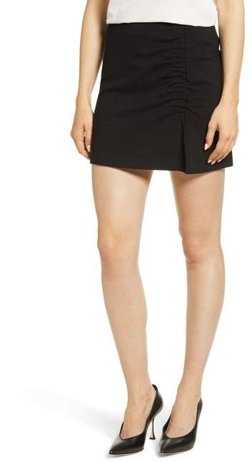 1.State Ruched Detail Stretch Ponte Miniskirt