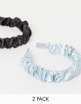 ASOS DESIGN pack of 2 ruched headbands in black and blue satin