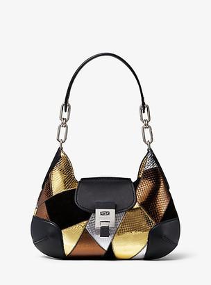 Michael Kors Bancroft Medium Patchwork Metallic Snakeskin Convertible Shoulder Bag