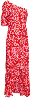 Veronica Beard Vie One-shoulder Printed Silk-blend Crepe Maxi Dress