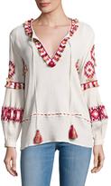 Love Sam Cotton Embroidered Fringe Trimmed Blouse