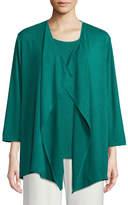 Caroline Rose Gauze Knit Draped Cardigan, Plus Size
