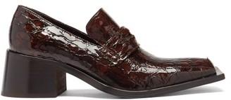 Martine Rose Bagleys Snake-effect Leather Penny Loafers - Dark Brown