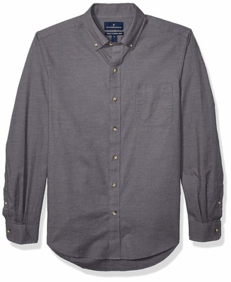 Buttoned Down Tailored Fit Supima Cotton Brushed Twill Plaid Sport Shirt Button