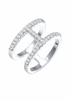 Elli Women's 925 Sterling Silver Xilion Cut Zircon Ring Size Q