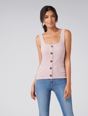 Forever New Maeve Rib Button Tank - Red / White Stripe - m