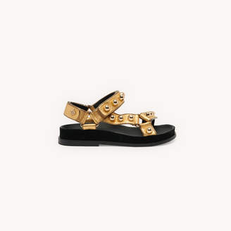 SandroSandro Flat leather sandals with velcro