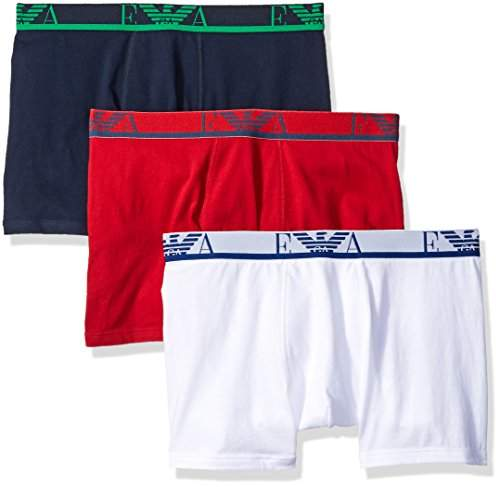 Emporio Armani Intimates Men's's 6P712-3Pk Trunk Boxer Shorts Multicoloured Bianco/Rosso-Marine/White/Red