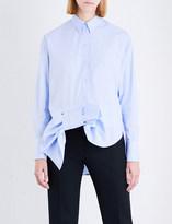 Victoria Victoria Beckham Asymmetric Tuxedo Bow cotton-poplin shirt