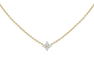 Redline 18ct Yellow Gold And Diamond Shiny Four Diamonds Necklace