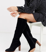 Asos DESIGN Wide Fit Clover premium suede knee high boots in black